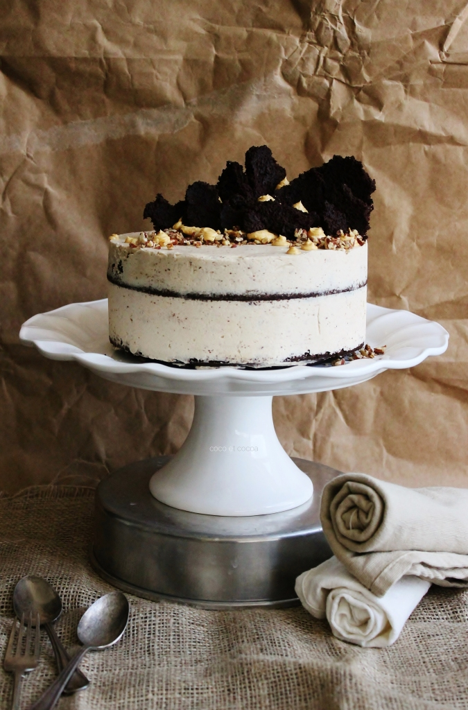 Buckwheat Chocolate Cake with Chestnut Buttercream, Beurre Brulee, and Salted Pecans