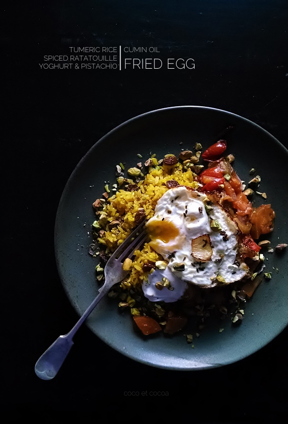 Turmeric Jewelled Rice with Spiced Ratatouille, Cumin Fried Egg, Yoghurt, and Pistachios
