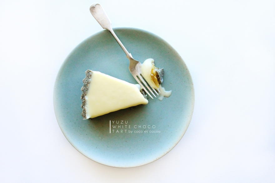Yuzu White Chocolate Tart with Black Sesame Shortbread
