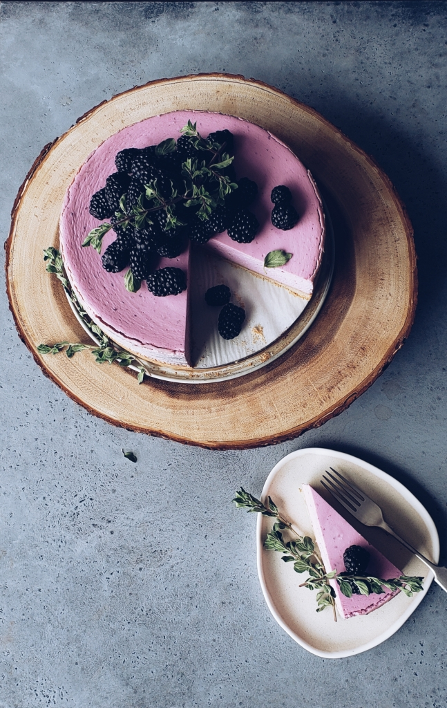 Ube Cheesecake with Toasted Coconut Crust and Blackberries