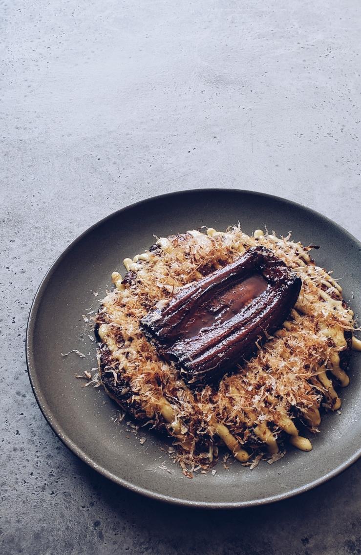 Sakura Ebi Okonomiyaki with Unagi and Truffle Aioli